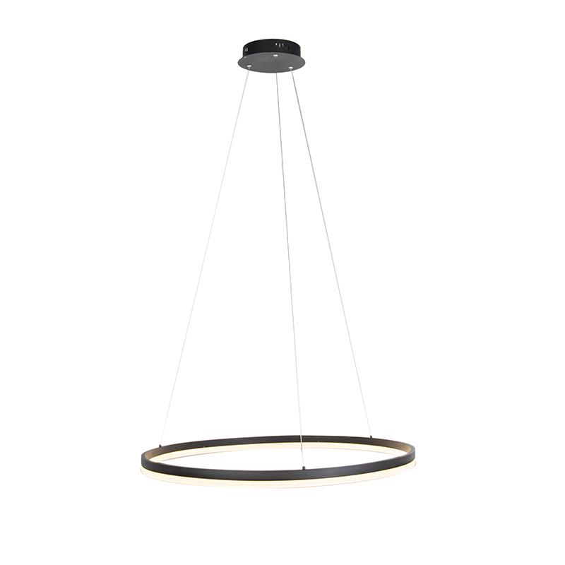 Design ring hanglamp zwart 80cm incl. LED en dimmer - Anello