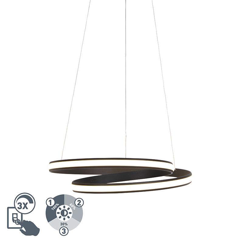 Moderne Hanglamp Zwart 55cm Incl. Led 3 Staps Dimbaar - Rowan