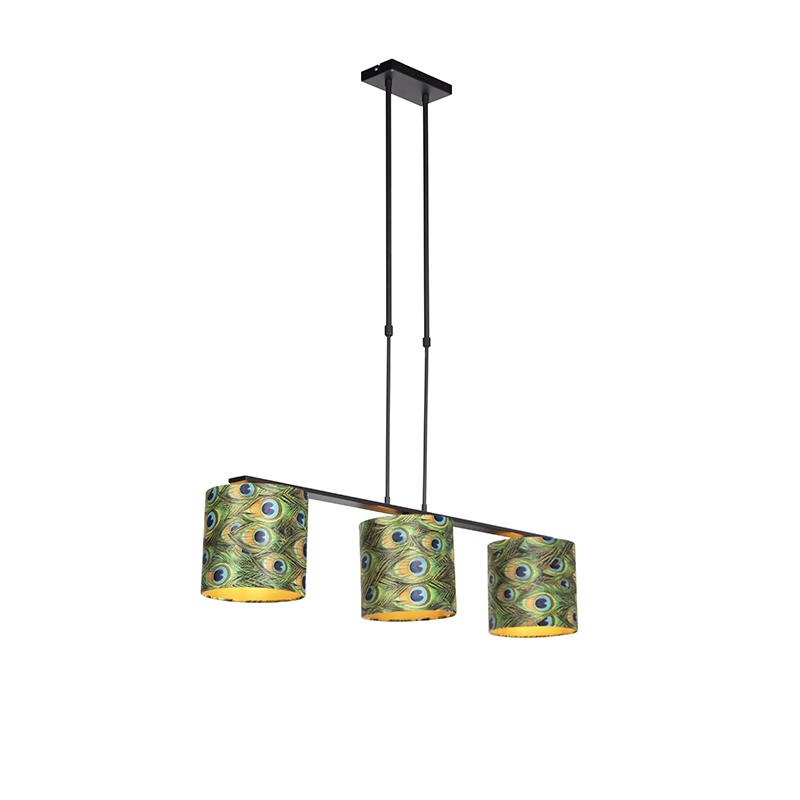 Nowoczesna lampa wisząca stal klosz welurowy pawie oczka 20cm - Combi 3 Deluxe