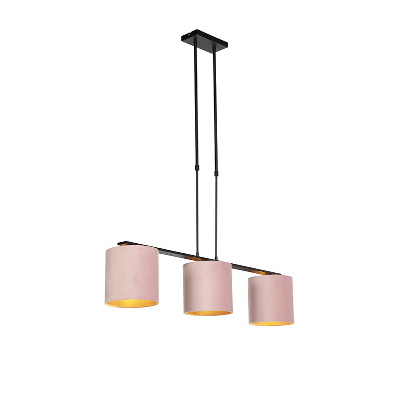 Nowoczesna lampa wisząca czarna klosz welurowy różowy 20cm - Combi 3 Deluxe