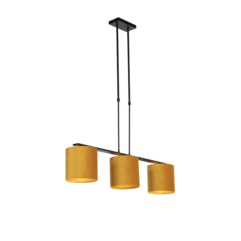 Nowoczesna lampa wisząca czarna klosz welurowy ochra 20cm - Combi 3 Deluxe