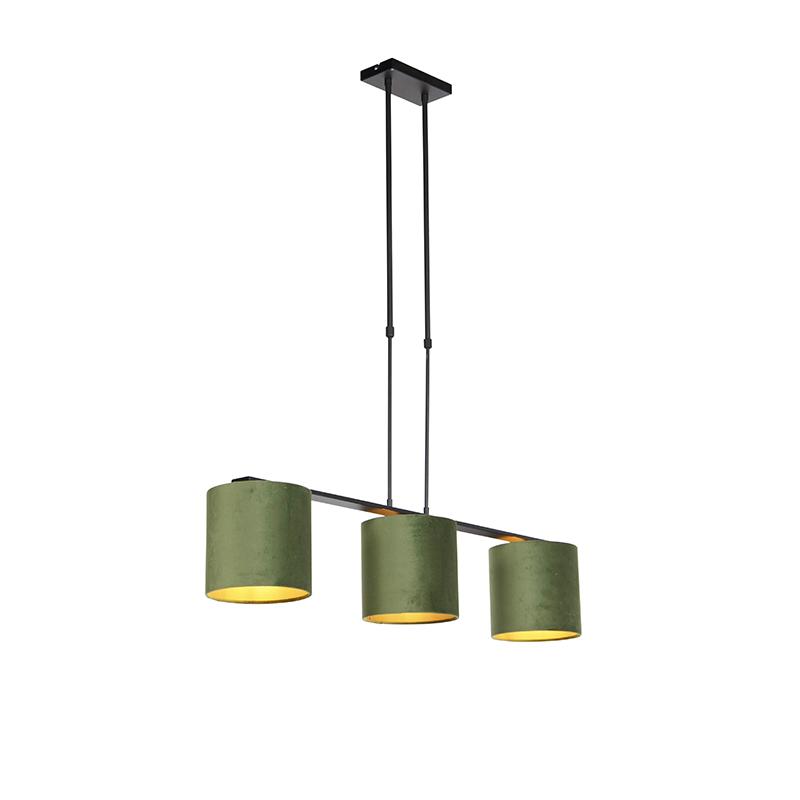 Hanglamp met velours kappen groen met goud 20cm - Combi 3 Deluxe