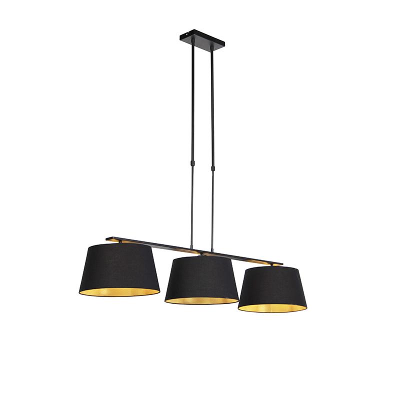 Hanglamp met katoenen kappen zwart met goud 32cm - Combi 3 Deluxe