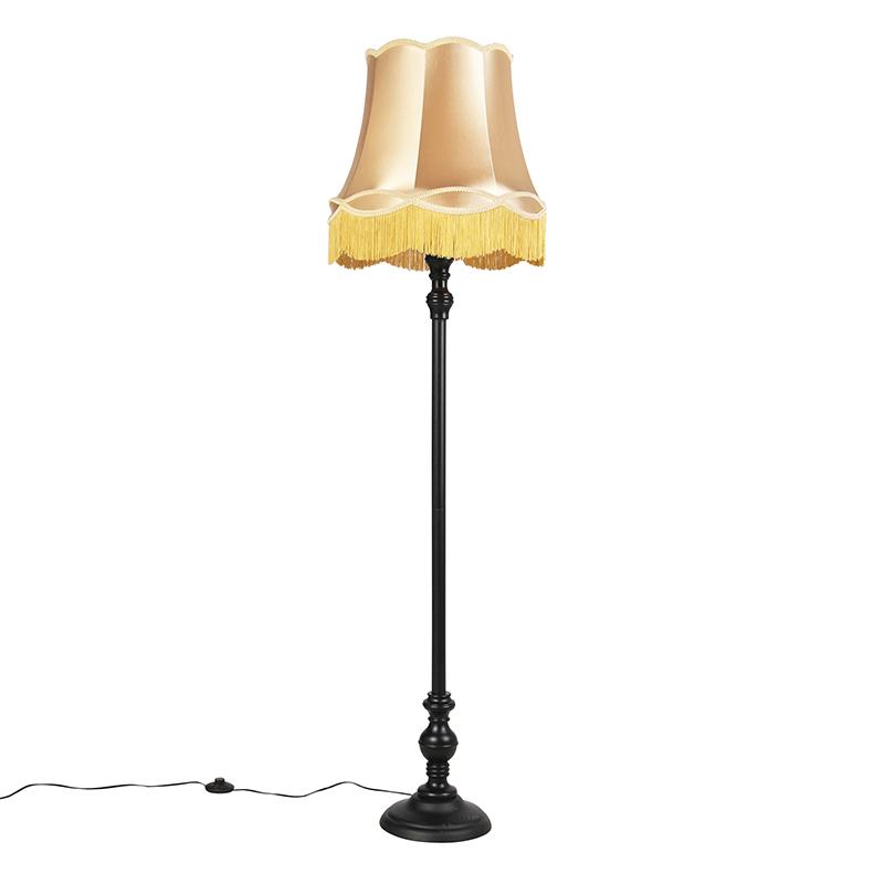 Vloerlamp zwart met Granny kap goud - Classico