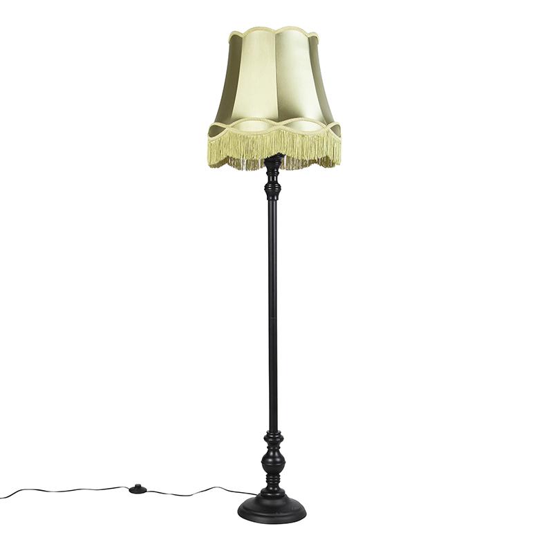 Vloerlamp zwart met Granny kap groen - Classico