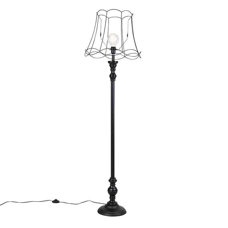 Vloerlamp zwart met Granny Frame kap 45 cm - Classico