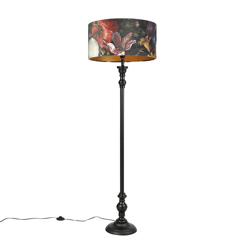 Vloerlamp zwart met velours kap bloemen goud 50 cm - Classico