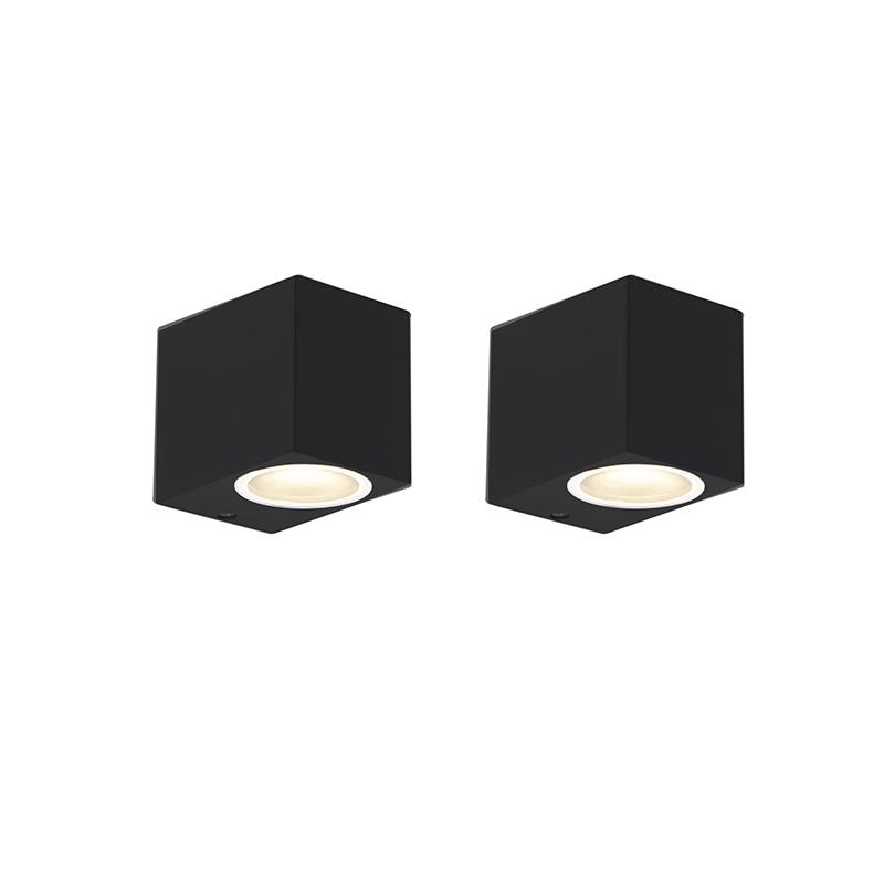 Set van 2 moderne wandlampen zwart IP44 - Baleno I