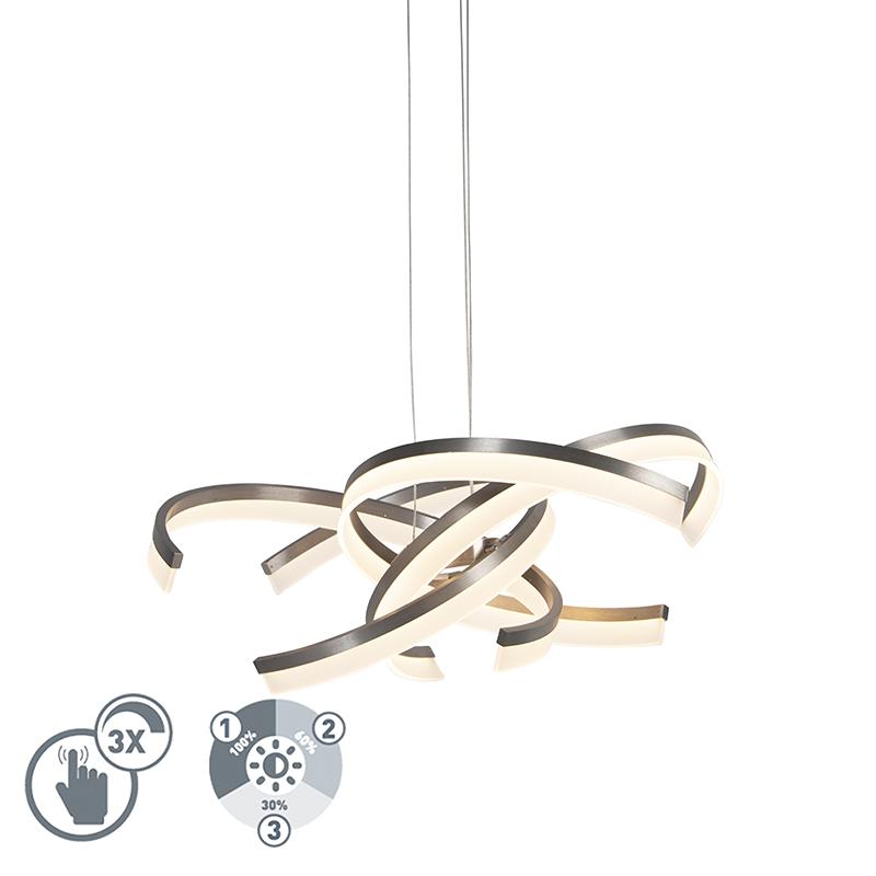 Design hanglamp staal incl. LED 3 staps dimbaar - Friz