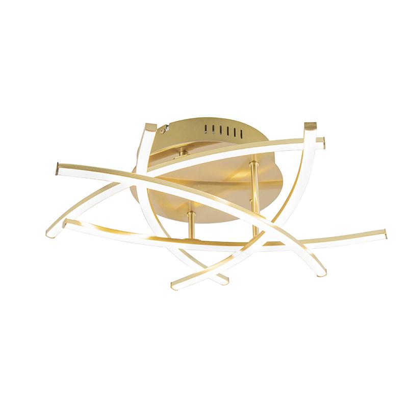 Moderne plafonniere goud dimbaar incl. LED - Cielo
