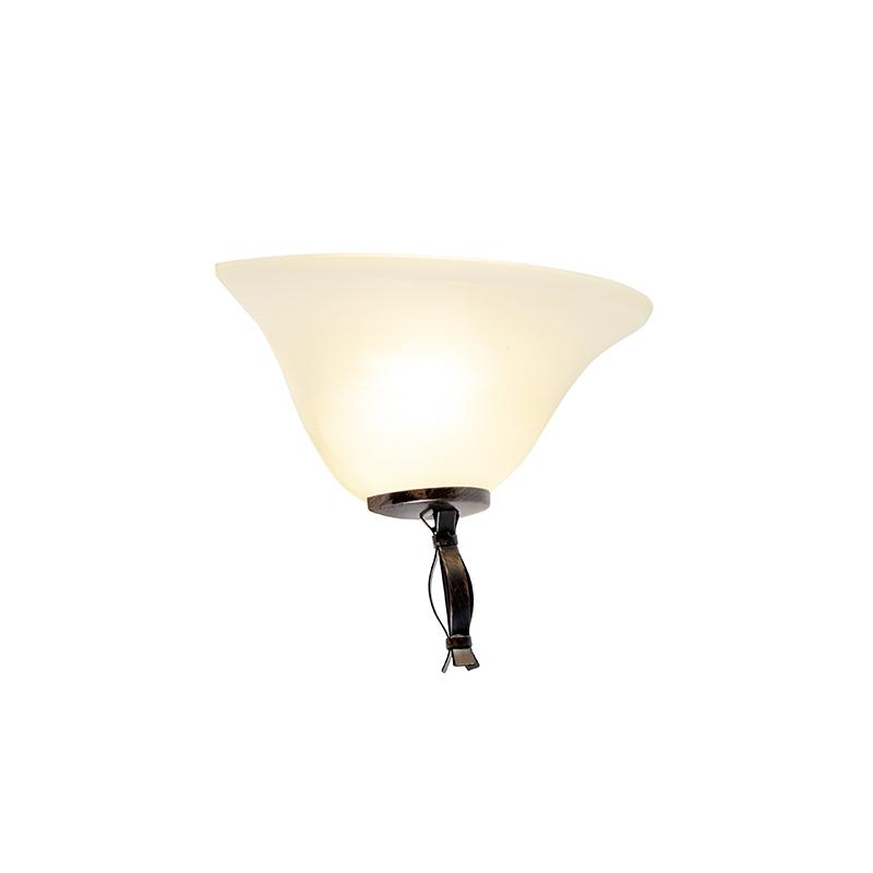 Klassieke wandlamp bruin met beige glas - Pirata