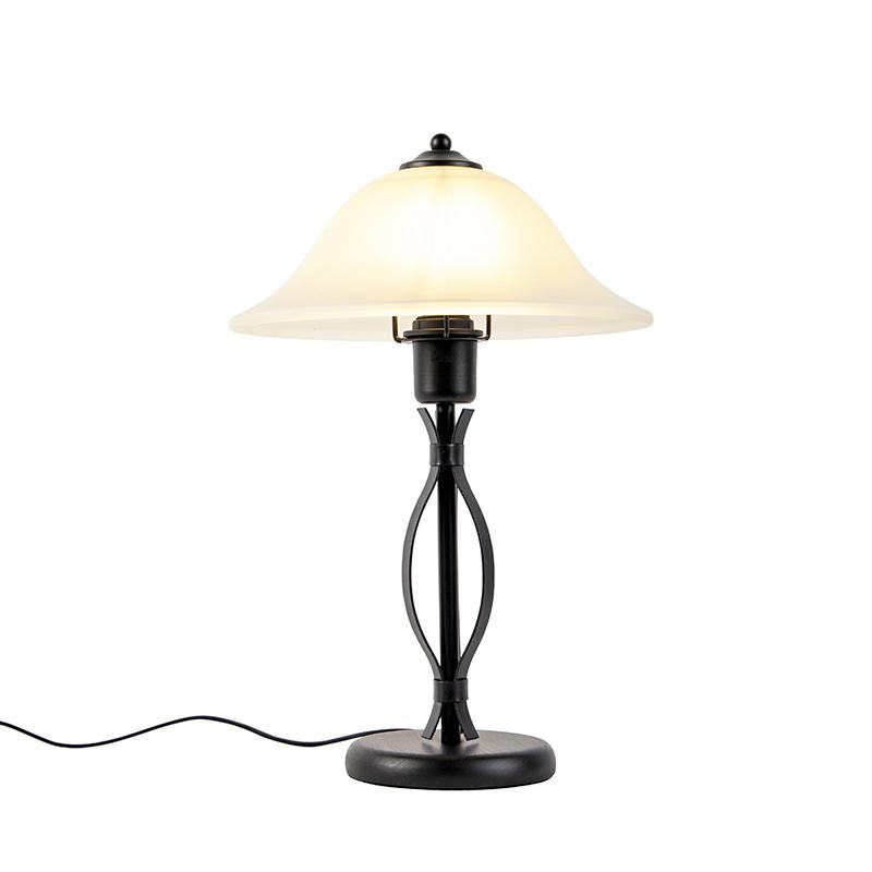 Klassieke tafellamp bruin met beige glas - Pirata