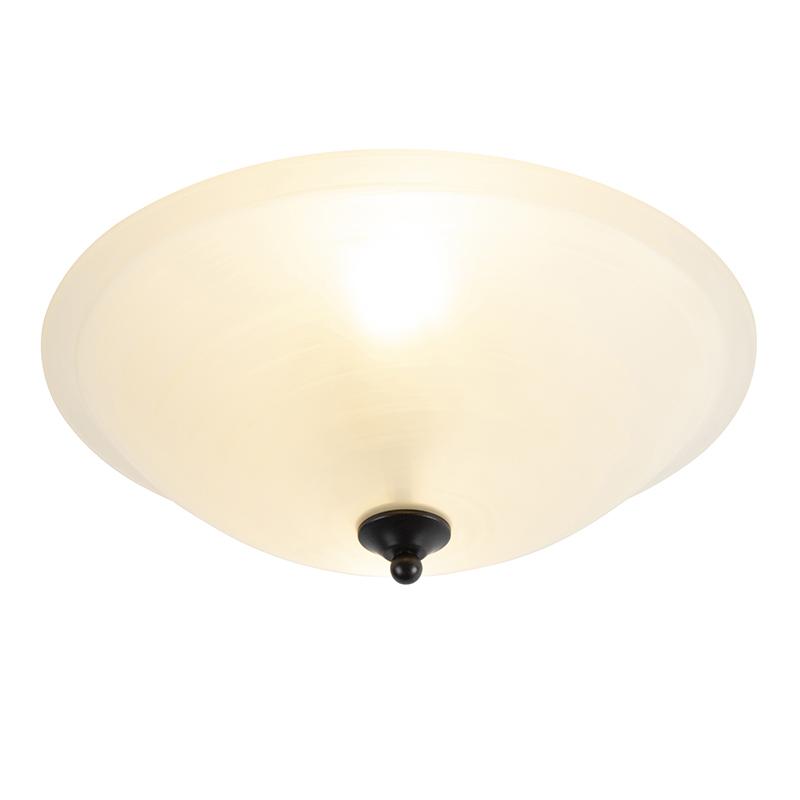 Klassieke plafondlamp bruin met beige glas - Pirata