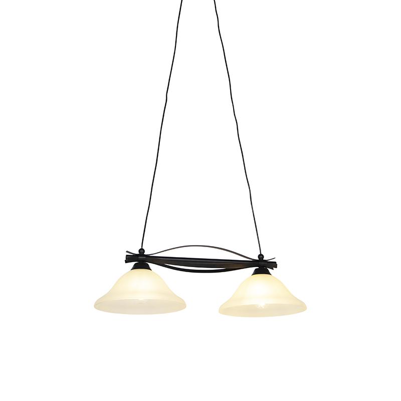 Klassieke hanglamp bruin met beige glas 2 lichts Pirata