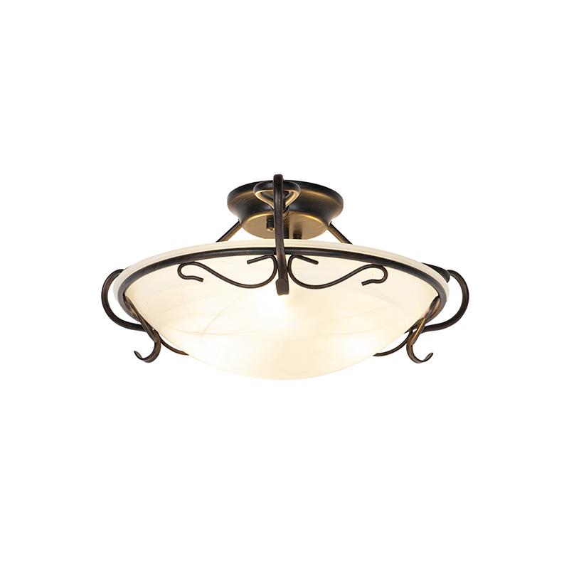 Klasyczna lampa sufitowa brązowa z opalowym szkłem - Unico