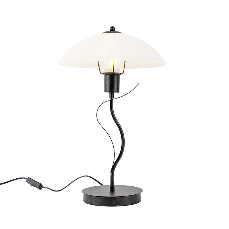 Klassieke tafellamp bruin met opaal glas - Unik