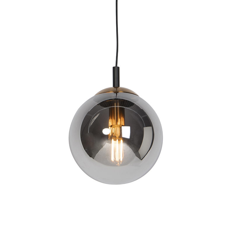 Art deco hanglamp zwart met smoke glas 25 cm - Pallon Bulla