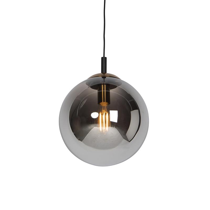 Art deco hanglamp zwart met smoke glas 30 cm - Pallon Bulla