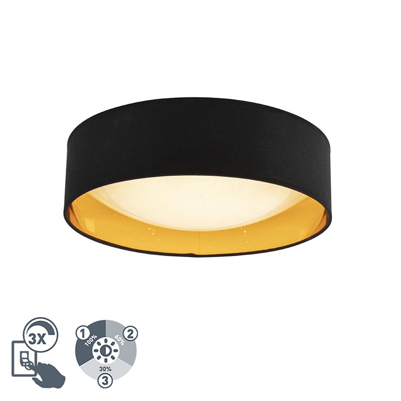 Design plafonniere zwart met goud 40 cm incl. LED - Drum Combi