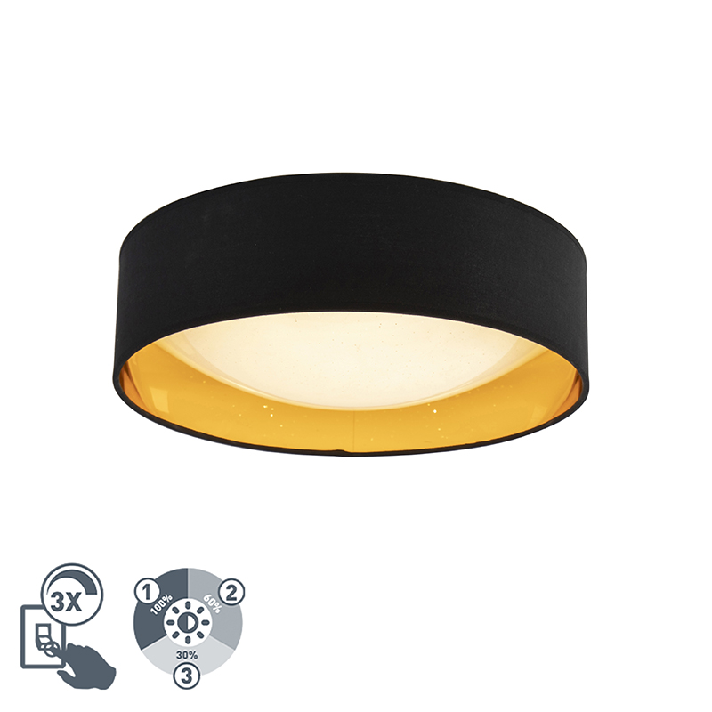 Design plafonni�re zwart met goud 40 cm incl. LED - Drum Combi