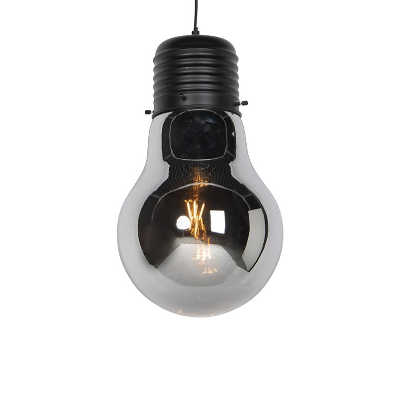 Design hanglamp zwart met smoke glas - Nigrum