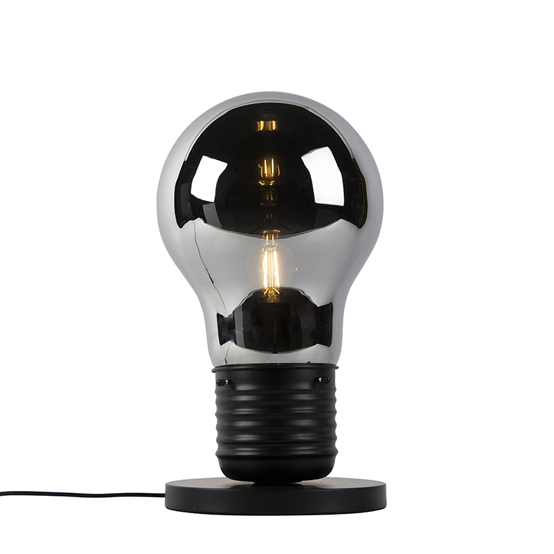 Designerska lampa stołowa czarna z szkłem dymnym - Nigrum