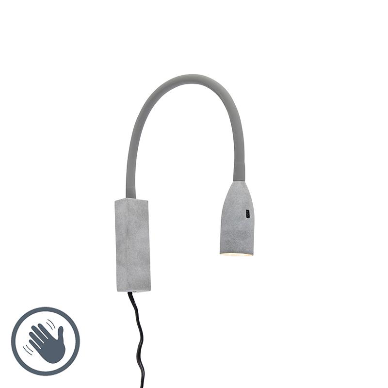 Design wandlamp grijs met flexarm dimbaar incl. LED - Lenta