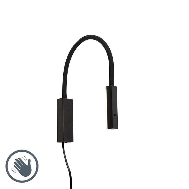 Design wandlamp zwart met flexarm dimbaar incl. LED - Lenta