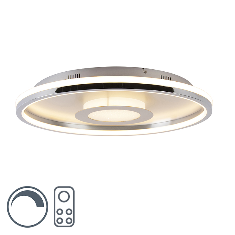 Plafonnière aluminium 59 cm incl. LED met afstandsbediening - Oculus