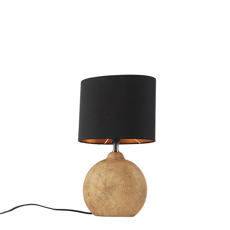 Tafellamp brons met zwarte kap 23 cm - Cleo