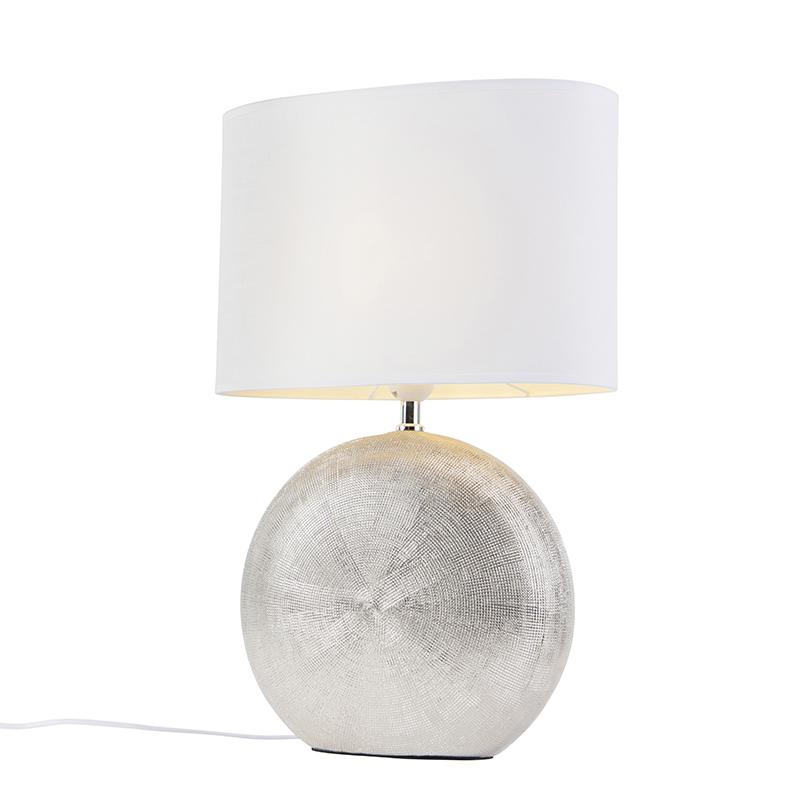 Tafellamp zilver met witte kap 34 cm - Cleo