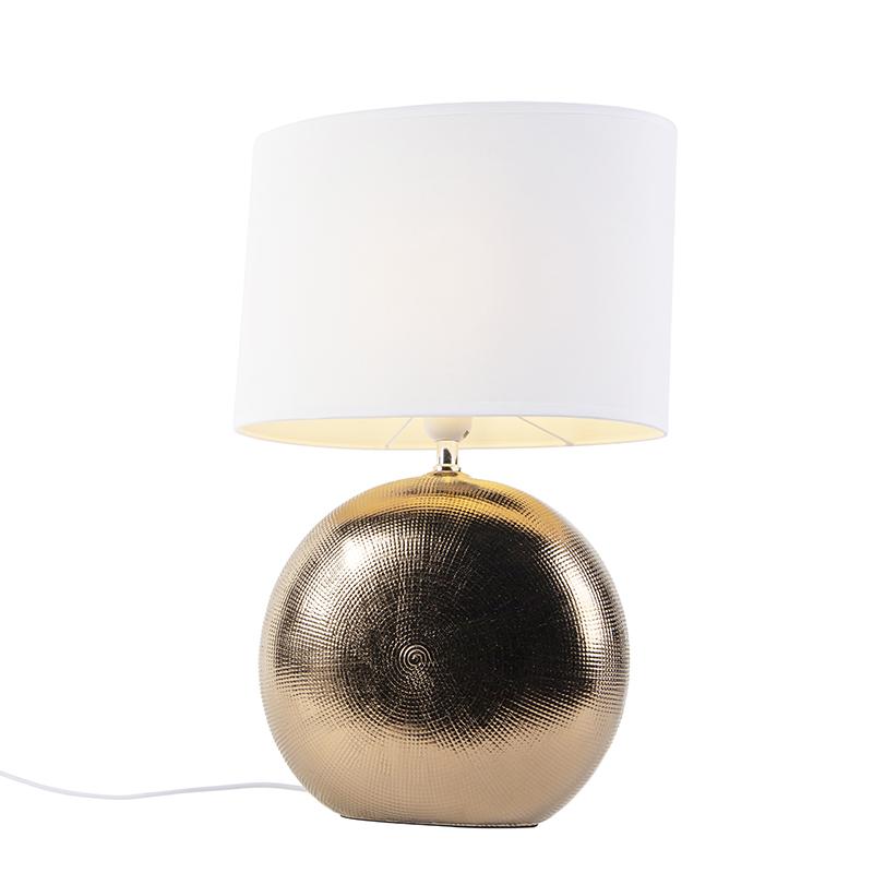 Klasyczna lampa stołowa miedź klosz biały 34cm - Cleo