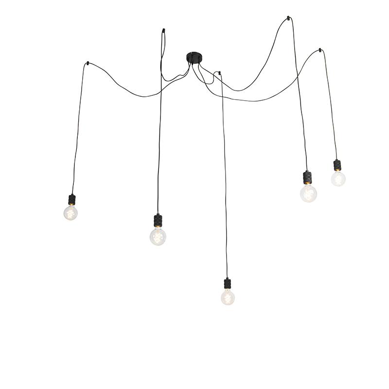 Design hanglamp zwart 5-lichts - Cavalux