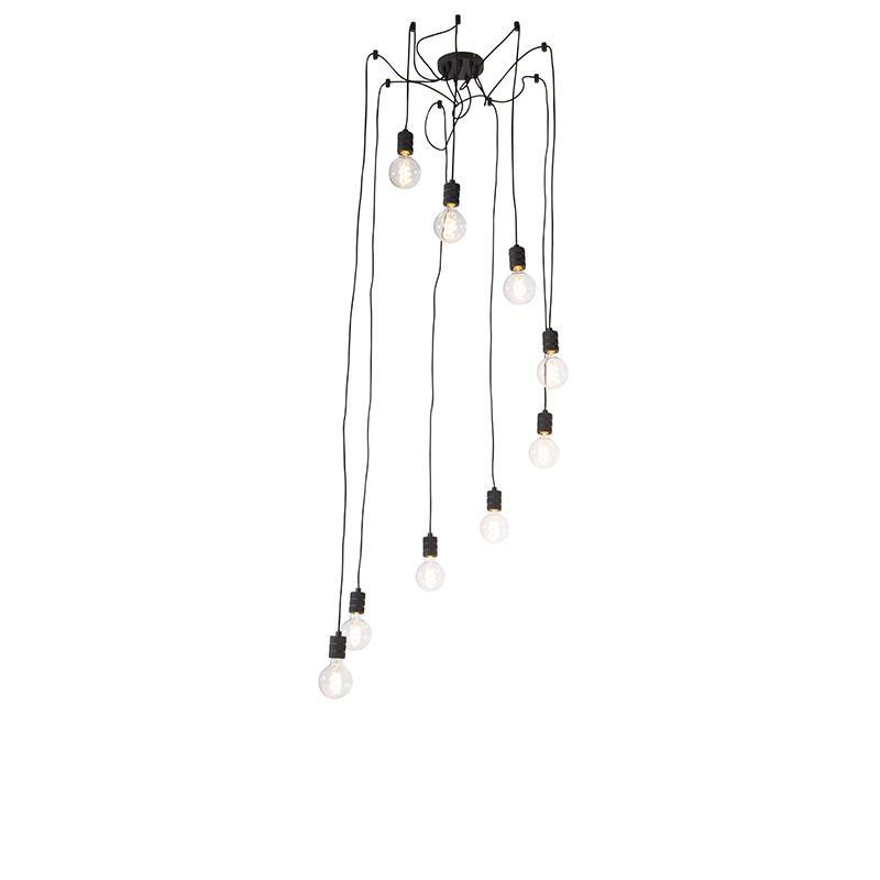 Design hanglamp zwart 9-lichts - Cavalux