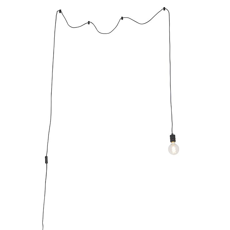 Design hanglamp zwart 1-lichts met stekker - Cavalux