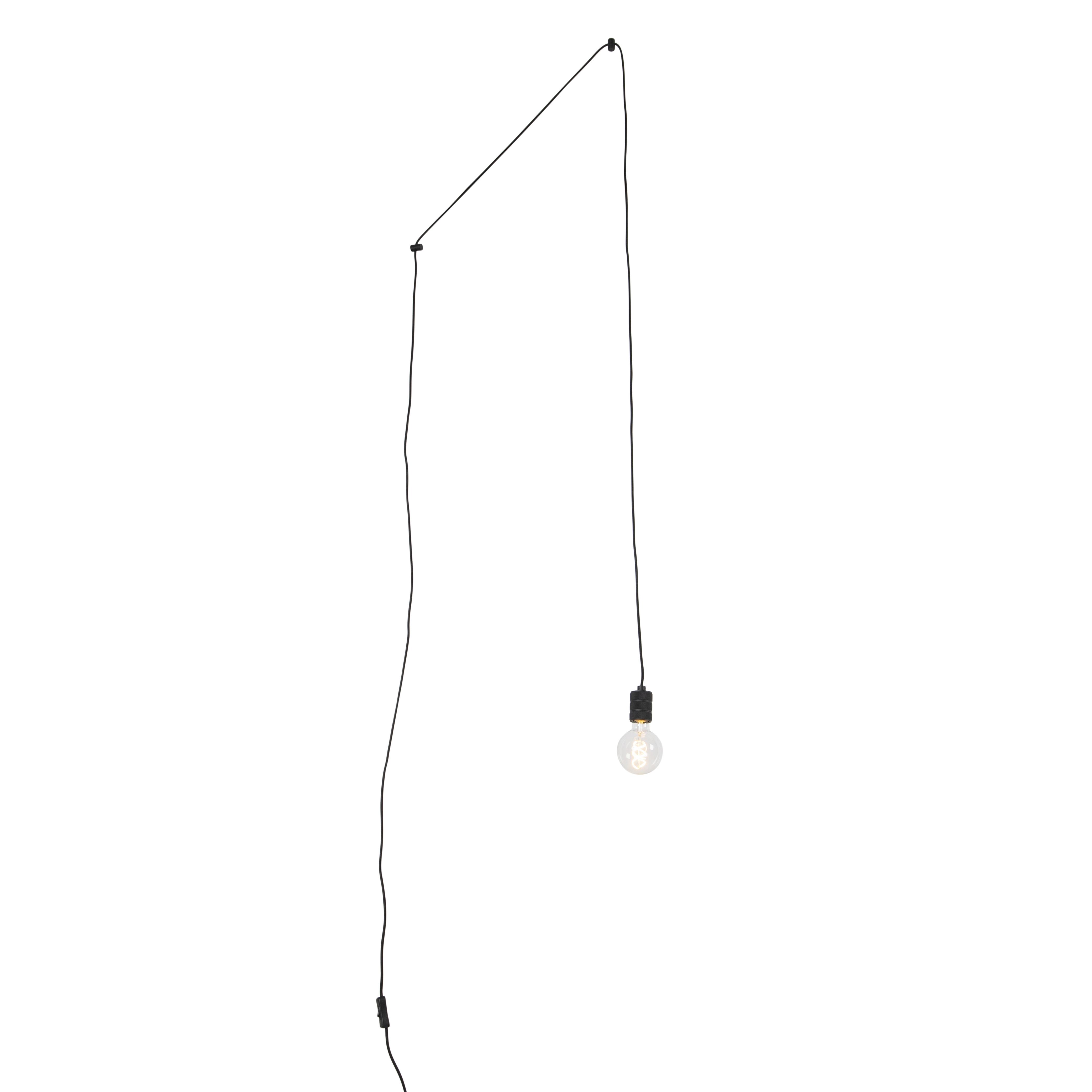 Lampa wisząca czarna 1-źródło światła z wtyczką - Cavalux
