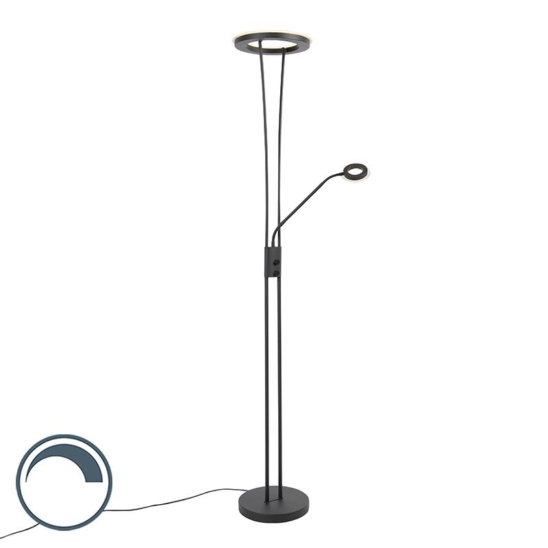Nowoczesna lampa podłogowa czarna LED ramię do czytania - Divine