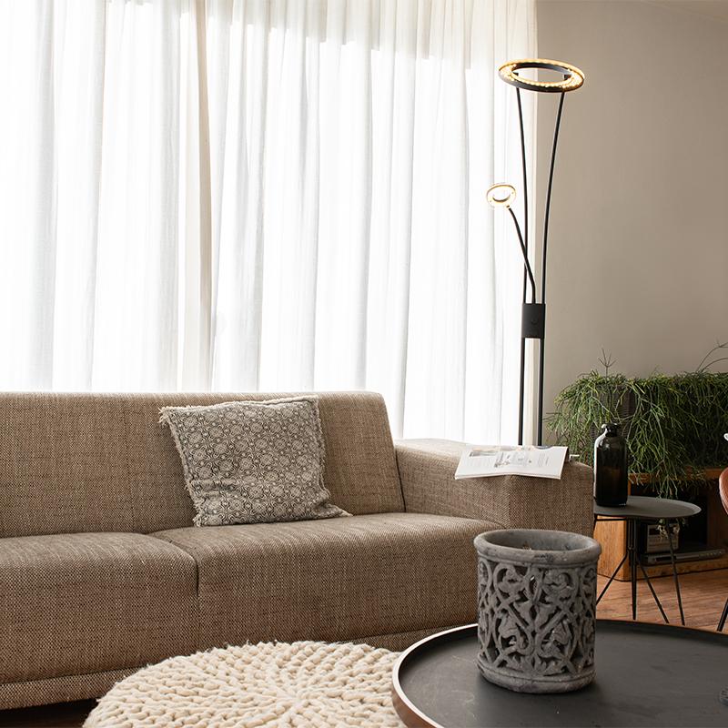 Moderne vloerlamp zwart incl. LED met leesarm - Divine