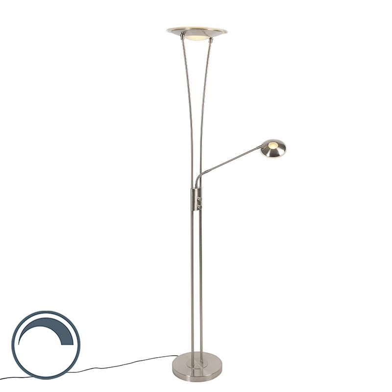 Moderne vloerlamp staal incl. LED met leesarm - Ibiza