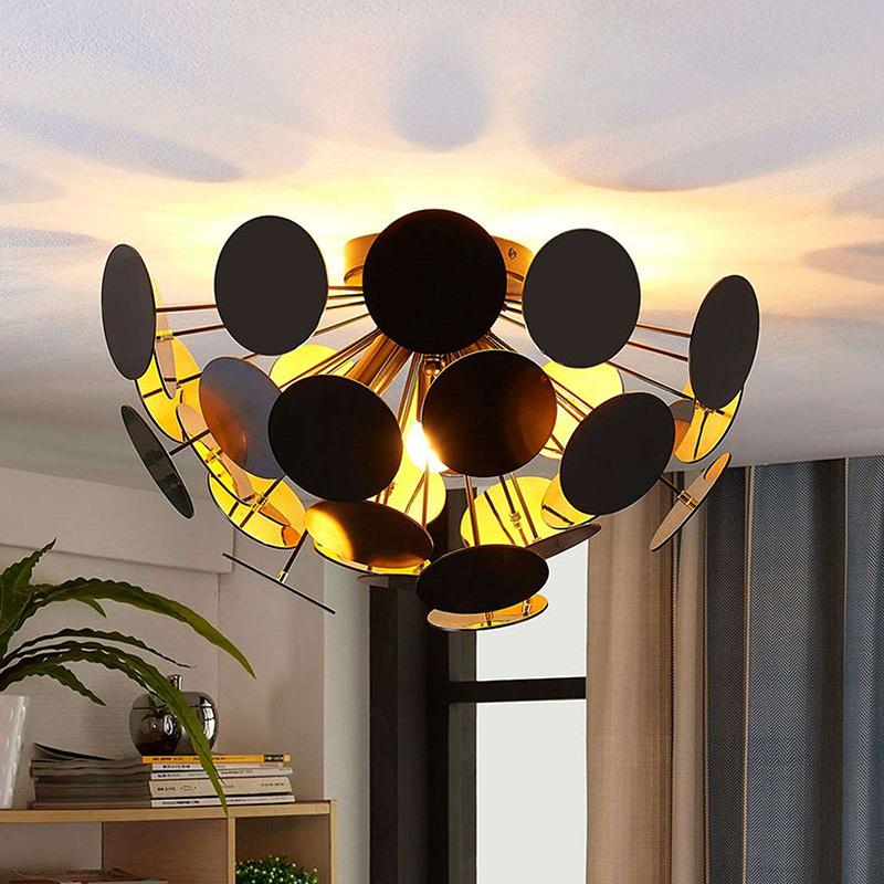 Design plafondlamp zwart met goud 40 cm 3-lichts - Cerchio