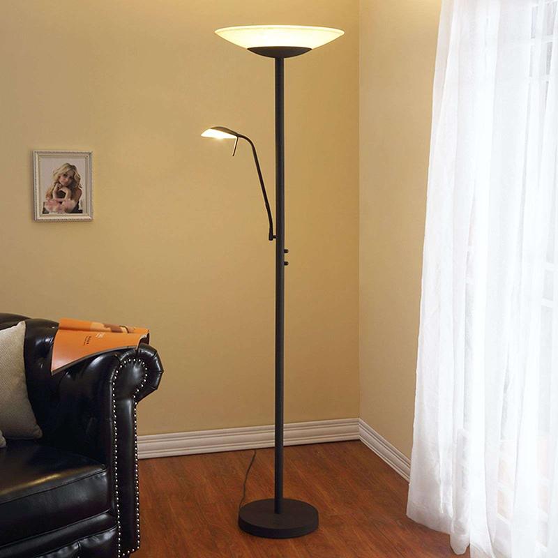 Vloerlamp antraciet met leesarm incl. LED en dimmer - Ragna