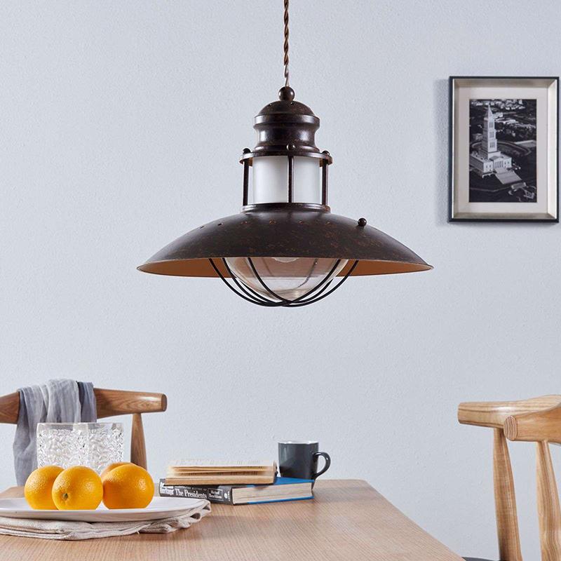 Industri�le ronde hanglamp roestbruin 35 cm - Louisanne