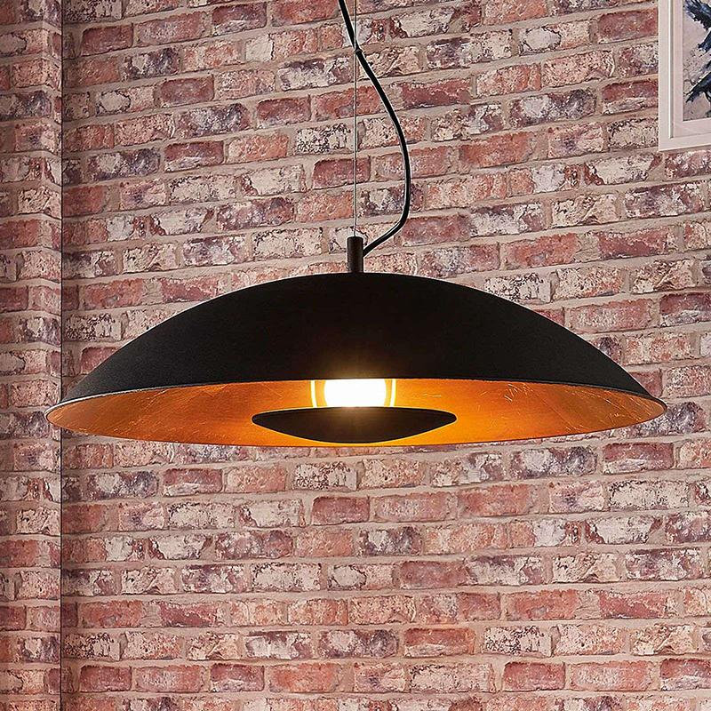 Moderne hanglamp zwart met goud - Emilienne