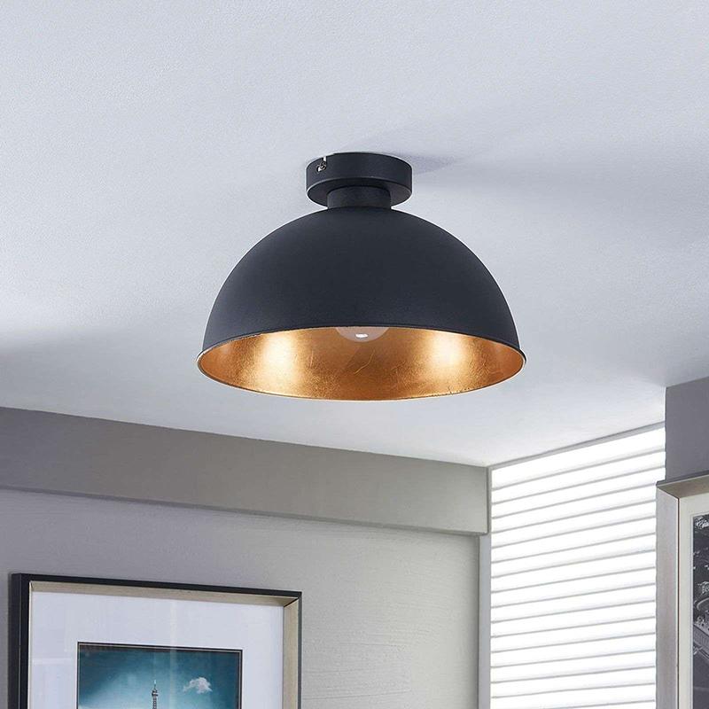 Industri�le plafondlamp zwart met goud - Magna Eglip