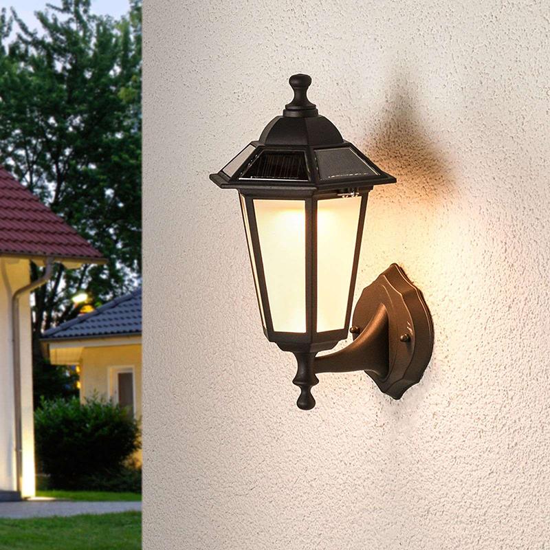 Klassieke buitenlamp zwart lantaarn incl. LED solar - Kristin