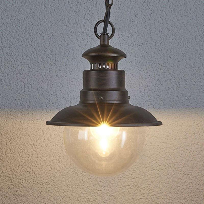 Industri�le ronde hanglamp roestbruin - Eddie