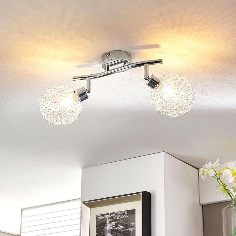 Moderne plafondlamp chroom 2-lichts incl. vervangbare LED - Ticino
