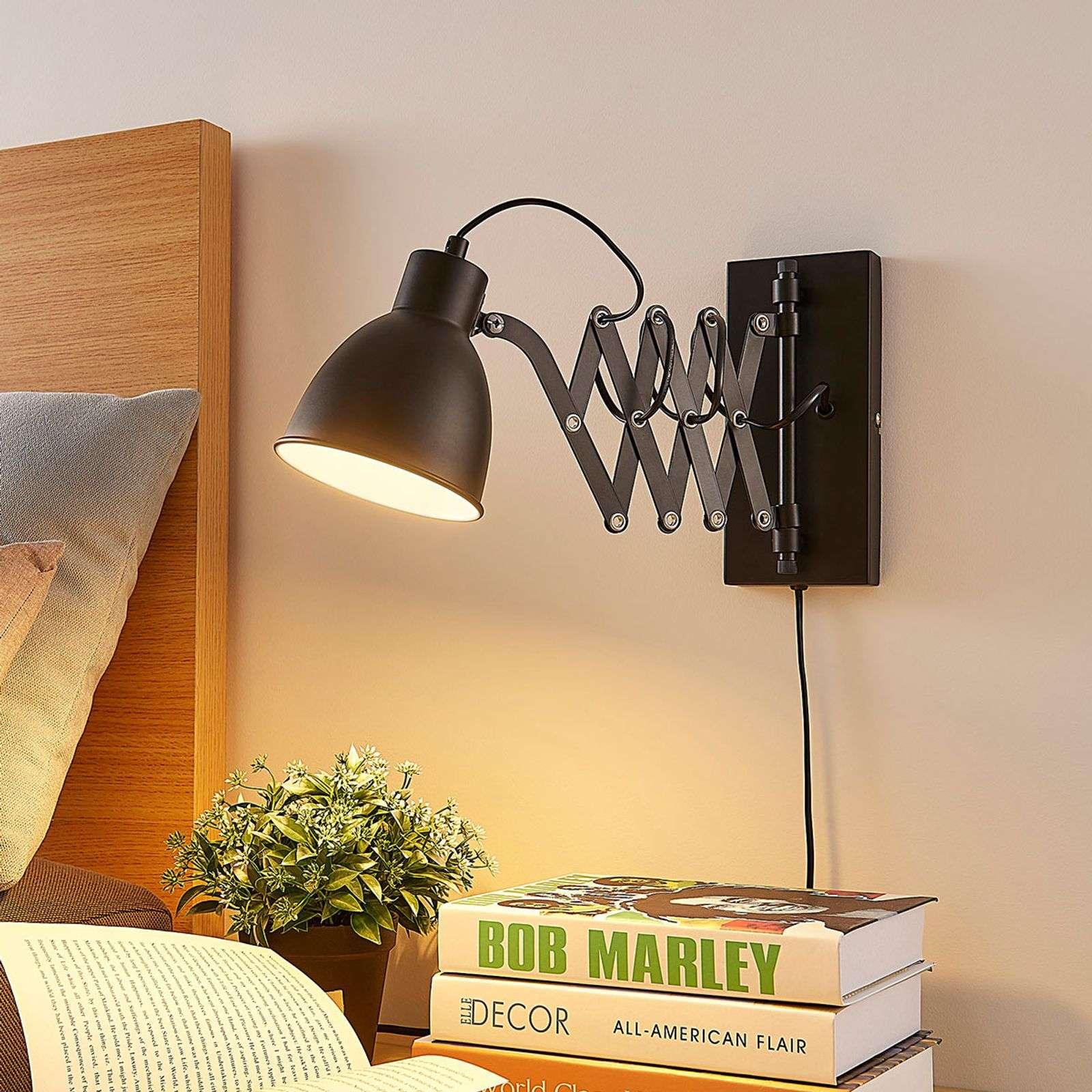 Industri�le wandlamp zwart verstelbaar - Merle Tabs