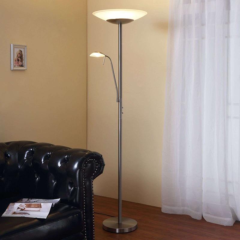 Klassieke vloerlamp aluminium met leeslamp incl. LED en dimmer - Ragna