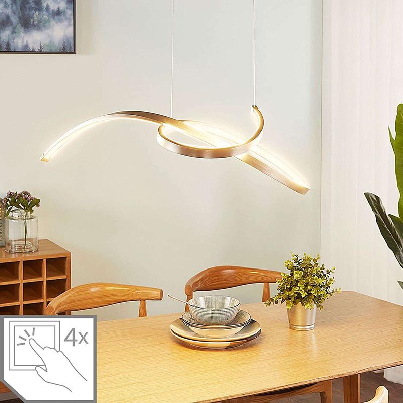Moderne hanglamp aluminium incl. LED en dimmer - Dominykas